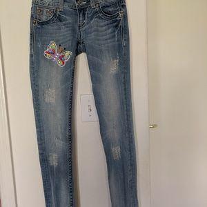 Miss Me Embellished Wing Pocket Skinny Jeans